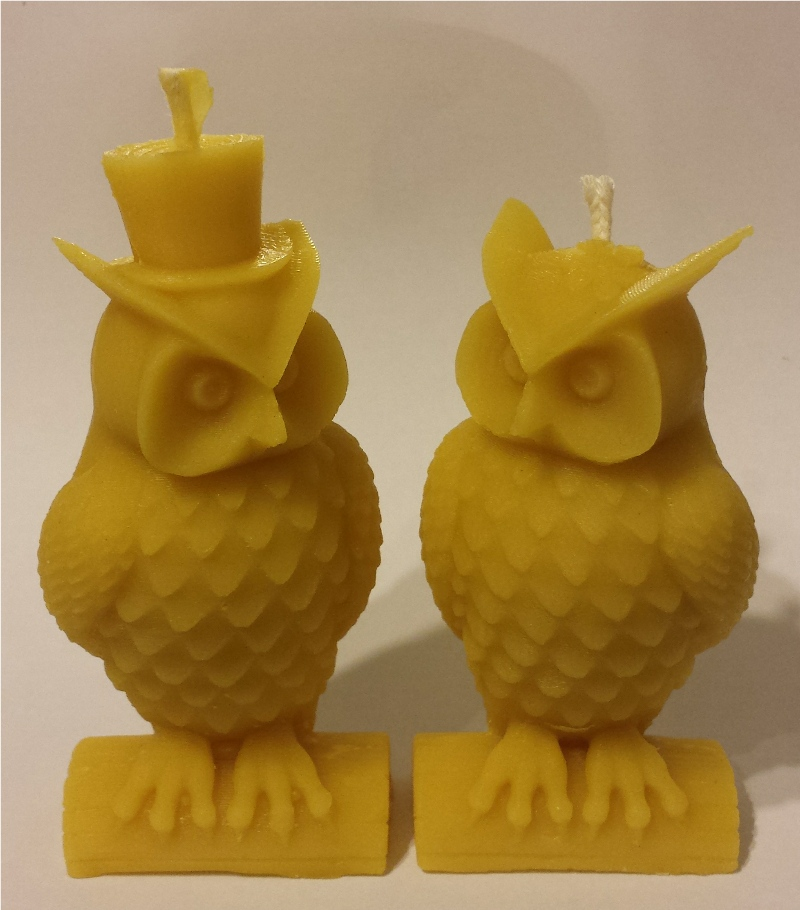 mr and mrs owls candles in beeswax