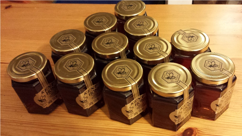 jars of honey with labels